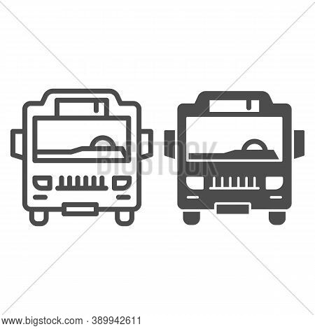 Shuttle Bus Line And Solid Icon, Public Transport Concept, Autobus Sign On White Background, Bus Ico