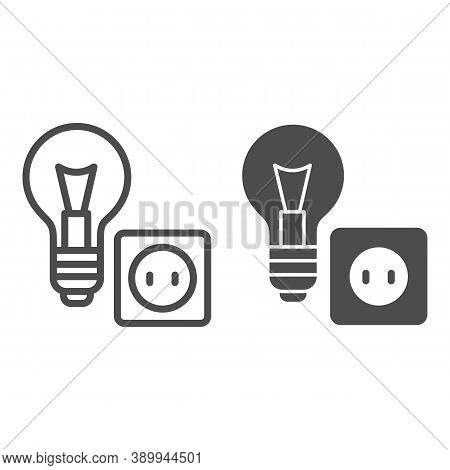 Light Bulb And Socket Line And Solid Icon, Home Repair Concept, Electric Repair And Installation Sig