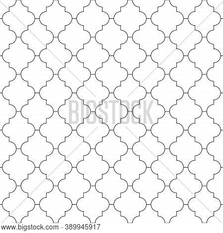 Seamless Pattern With Ogee Ornament. Oriental Traditional Ornamentation With Repeated Rounded Shapes