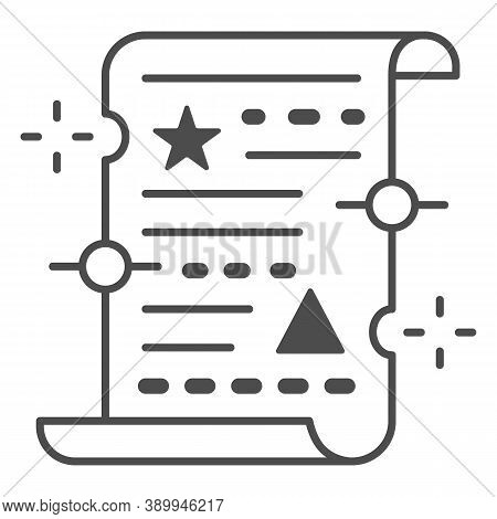 Spell On Papyrus Thin Line Icon, Halloween Concept, Old Manuscript Parchment Paper With Text Sign On