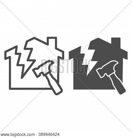 House With A Crack And Hammer Line And Solid Icon, House Repair Concept, Reconstruction Sign On Whit