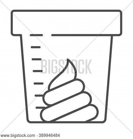 Stool Sample For Analysis Thin Line Icon, Medical Tests Concept, Fecal Analysis Sign On White Backgr