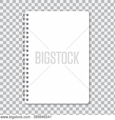Notepad With Wire. Notebook With Spiral. Notepad A5 For Notes. Vector Illustration.