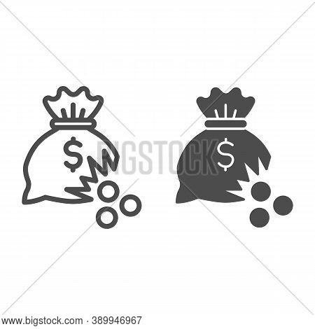 Bag Of Money With Hole And Coins Line And Solid Icon, Financial Problem Concept, Leaking Coins From