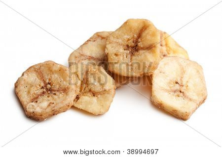 dried banana chips on white background