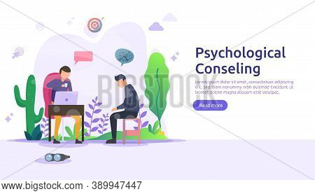 Psychological Counseling Concept Illustration. Psychotherapy Practice, Psychiatrist Consulting Patie