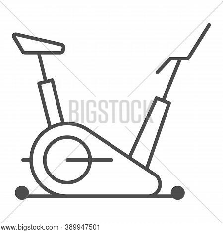 Exercise Bike Thin Line Icon, Gym Concept, Stationary Bike Sign On White Background, Fitness Cycling