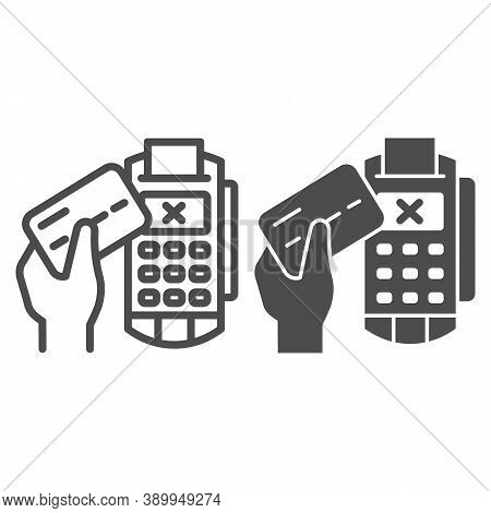 Credit Card In Hand And Pos Terminal Line And Solid Icon, Payment Problem Concept, Payment Denial Si
