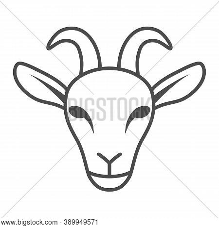 Goat Head Thin Line Icon, Livestock Concept, Nanny-goat Head Sign On White Background, Goat Face Ico