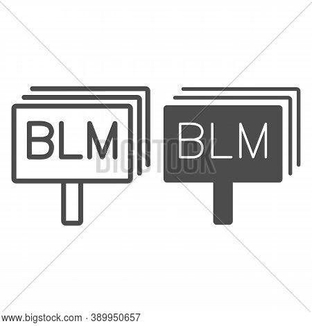 Black Lives Matter Board Line And Solid Icon, Black Lives Matter Concept, Blm Sign On White Backgrou