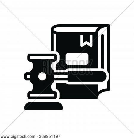 Black Solid Icon For Legislation Hammer Book Justice Syllogism Rectitude Law Legal Legislation