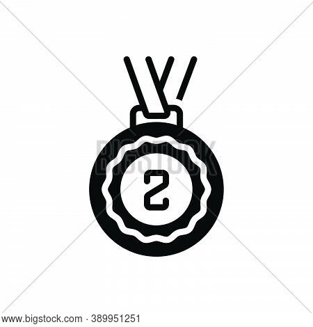 Black Solid Icon For Second Winner Success Award Reward Badage Prize Medal Place