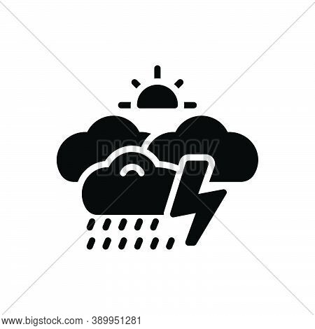Black Solid Icon For Whether Rumble Storm Thunder Burr Rumble Rainfall Raindrops Wet-weather Drizzle