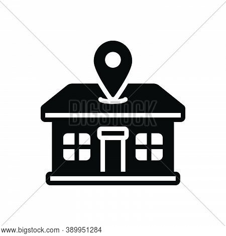 Black Solid Icon For Address Location Home Abode Direction Domicile Dwelling Lodging Whereabouts