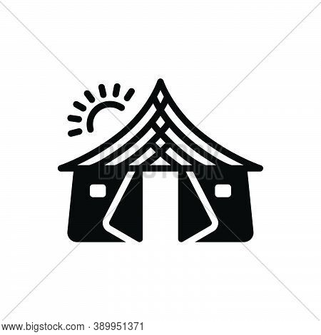 Black Solid Icon For Tent Awning Canopy Tabernacle Lodgement Pavilion Camp Marquee