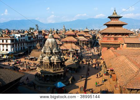 KATHMANDU, NEPAL - JANUARY 6: View of the Durbar Square, Patan January 6, 2009 in Kathmandu, Nepal. Local residents say that living in the Kathmandu Valley are 10 million gods.