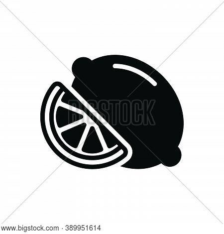 Black Solid Icon For Lemon Limes Citron Fresh Sour Taste Juicy Juice