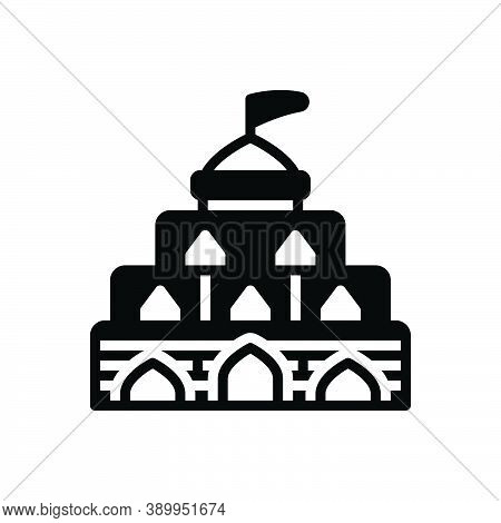 Black Solid Icon For Building Century Architecture Fort Citadel Castle