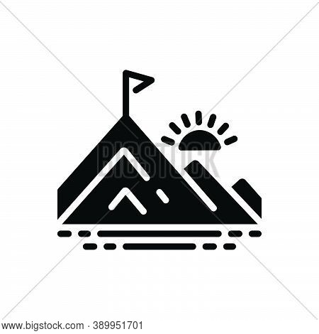 Black Solid Icon For Peak Pinnacle Vertex Braid Hill Mountain Flag Achievement Goal Winner Motivatio