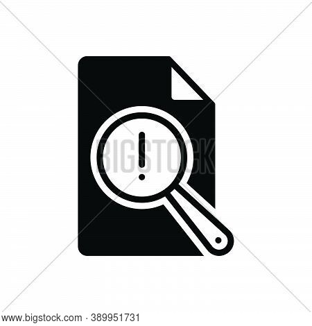 Black Solid Icon For Vulnerable Report Risk Analysis Research Check Review Document Antivirus