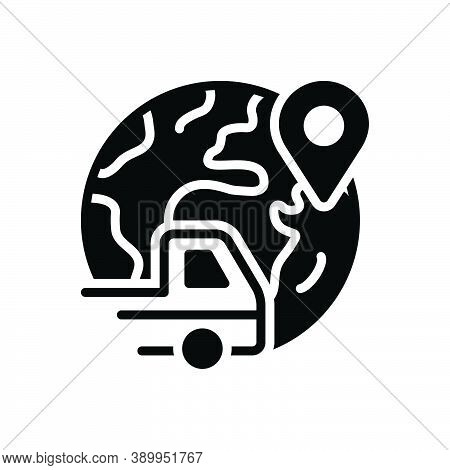 Black Solid Icon For Elsewhere Somewhere Otherwhere Vehicle Conveyance Carriage Shipment Navigation
