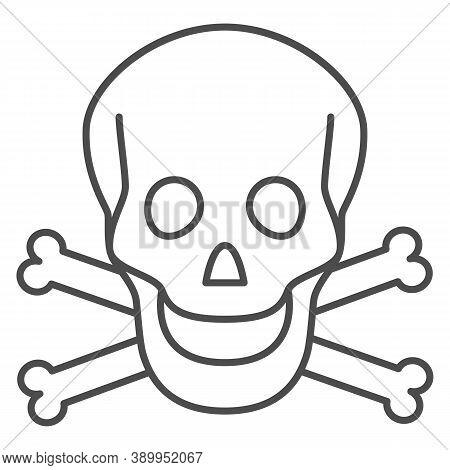 Skull And Bones Thin Line Icon, Halloween Concept, Danger Warning Sign On White Background, Skull An