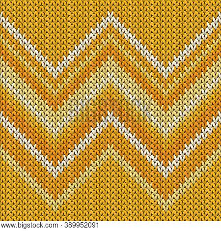 Handicraft Zig Zal Lines Knit Texture Geometric Vector Seamless. Jumper Knit Effect Ornament. Norweg