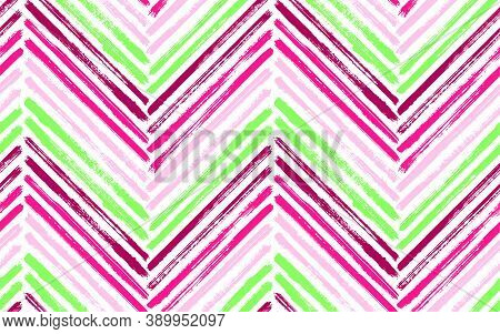 Grunge Zig Zag Interior Print Vector Seamless Pattern. Paintbrush Strokes Geometric Stripes. Hand Dr