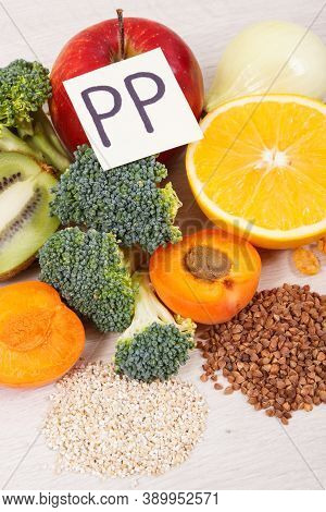 Healthy Food As Source Natural Minerals, Vitamin Pp And Dietary Fiber