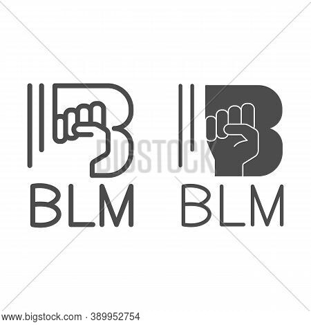 Black Lives Matter With Raised Fist Line And Solid Icon, Black Lives Matter Concept, No Violence Aga