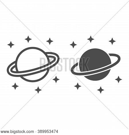 Planet Saturn Line And Solid Icon, Space Concept, Planet And Stars Sign On White Background, Saturn