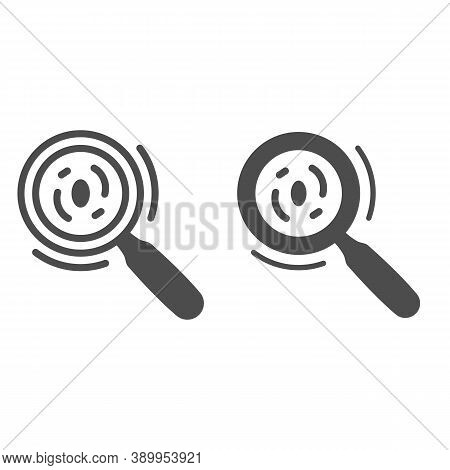 Microorganisms Under A Magnifying Glass Line And Solid Icon, Science Concept, Bacteria And Germs Und
