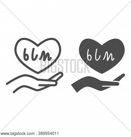 Hand Holding Heart With Blm Text Line And Solid Icon, Black Lives Matter Concept, Blm Heart In Hand