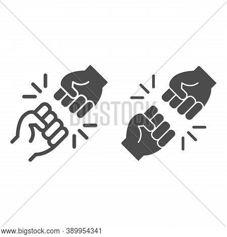 Struggle Between Whites And Blacks Line And Solid Icon, Black Lives Matter Concept, Blm Racial Fight