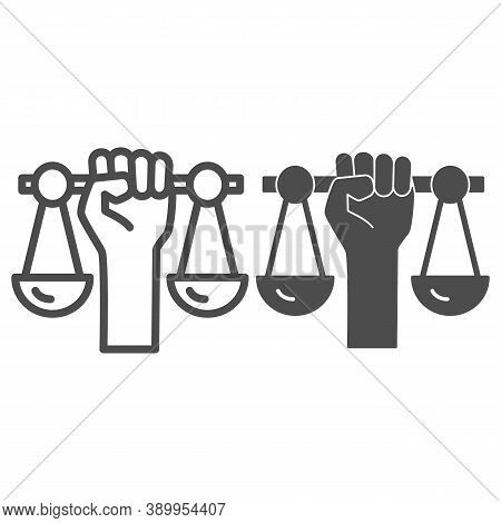 Hand Holding Scales Line And Solid Icon, Black Lives Matter Concept, Civil Rights Sign On White Back