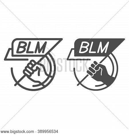 Hand Holding Blm Poster Line And Solid Icon, Black Lives Matter Concept, Blm Flag In Hand Sign On Wh