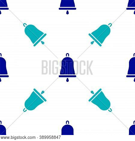 Blue Ringing Bell Icon Isolated Seamless Pattern On White Background. Alarm Symbol, Service Bell, Ha