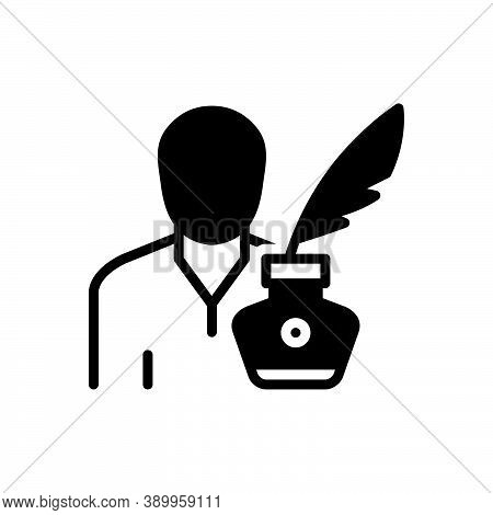 Black Solid Icon For Writer Amanuensis Author Biographer Editor Essayist Poet Reporter Feather Ink N