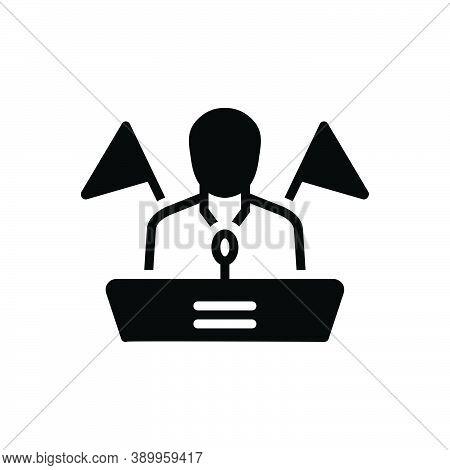 Black Solid Icon For Republican Democrat Leader President Orator Speaker Government Political Politi