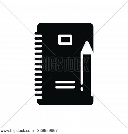 Black Solid Icon For Writing Script Handwriting Document Paper Pencil Composing Paperwork