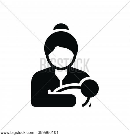 Black Solid Icon For Mom Mummy  Female Parent Mother Mommy Breast-feeding Baby Newborn