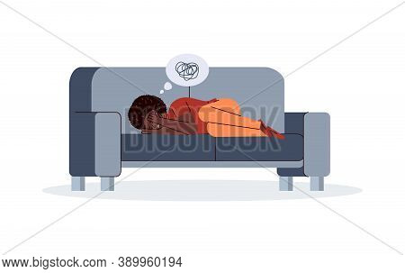Depressed Suffering Unhappy Woman Lies On Couch Covering His Face With Hands. Upset Young Girl With