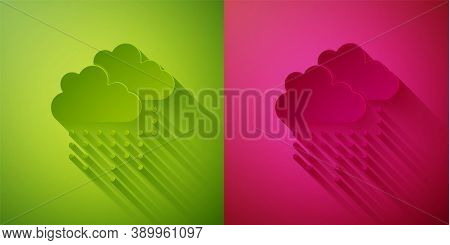 Paper Cut Cloud With Rain Icon Isolated On Green And Pink Background. Rain Cloud Precipitation With