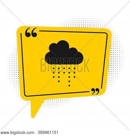Black Cloud With Rain Icon Isolated On White Background. Rain Cloud Precipitation With Rain Drops. Y