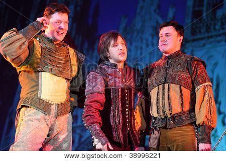 MOSCOW - FEBRUARY 3: Actors Dmitry Novikov, Ilya Viktorov and Sergey Pinchuk in musical