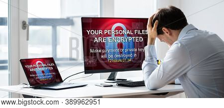 Ransomware Malware Attack. Business Computer Hacked. Files Encrypted