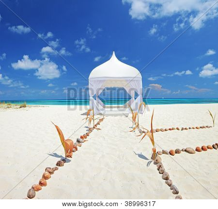 View of a wedding tent on a beach at Kuredu island, Maldives, Lhaviyani atoll