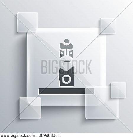 Grey Slavic Pagan Idol Icon Isolated On Grey Background. Antique Ritual Wooden Idol. Square Glass Pa
