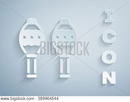 Paper Cut Maracas Icon Isolated On Grey Background. Music Maracas Instrument Mexico. Paper Art Style
