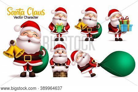 Santa Claus Vector Character Set. Santa Claus Characters In Different Gift Giving Pose And Gestures